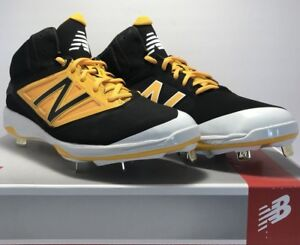 New Balance Mens Size 11 Mid Metal Baseball Cleats Black Yellow