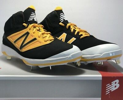 bf232e90f Details about New Balance Mens Size 11.5 Mid Metal Baseball Cleats Black  Yellow