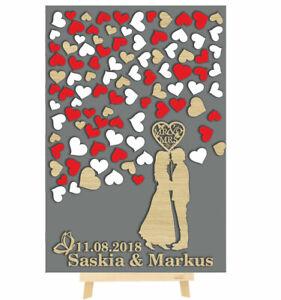 3D Hochzeitspaar aus Holz zur Hochzeit hochkant personalisiert mit Herzen