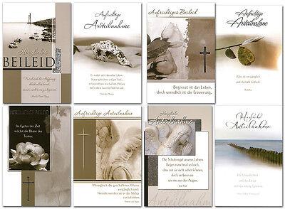 50/100 Trauerkarten 8 Motive Grußkarten Kondolenz Trauer Beileid Hülle 81-1720