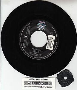 BON-JOVI-Keep-The-Faith-7-034-45-rpm-vinyl-record-juke-box-title-strip