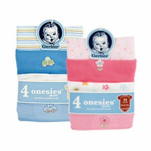 Gerber Onesies Variety 4 Pack Boy and Girl YOU CHOOSE SIZE