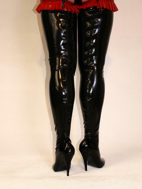 PROMOTION   BOOTS  LATEX RUBBER FETISH BOOTS  SIZE 4-12- HEELS 5,5