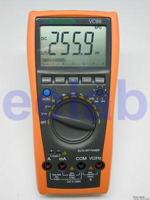 VC99+ 5999 Auto multimeter current volt tester R C analog bar temp buzz vs FLUKE