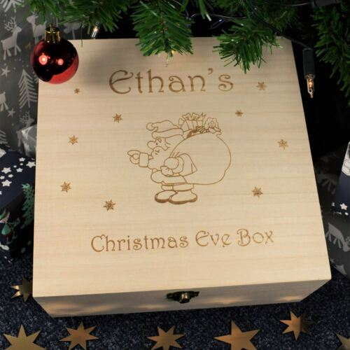 Santa Engarved Christmas Eve Box Wooden Box Personalised Christmas Eve Box