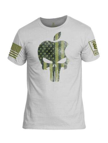Battleraddle Apple Punisher Skull Green Sleeve Mens Cotton Crew Neck T Shirt