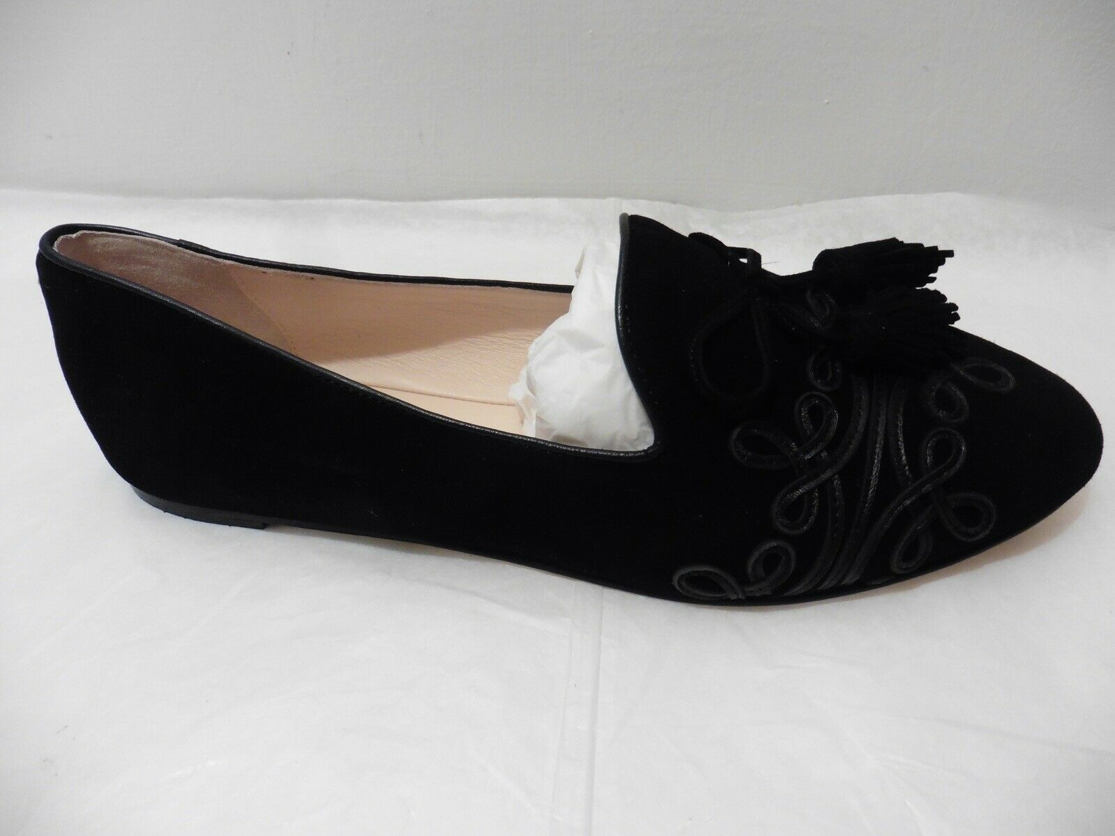 """Kate Spade NY """"Shirley"""" Black Kid Suede Piped Ballet Flats UK 5.5 US 8"""