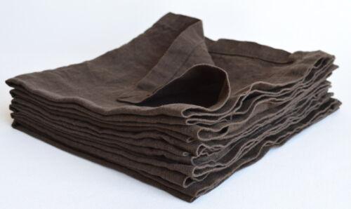 Servietten- Set 6 Stk stone washed made in EU Dunkelbraun aus 100/% Leinen