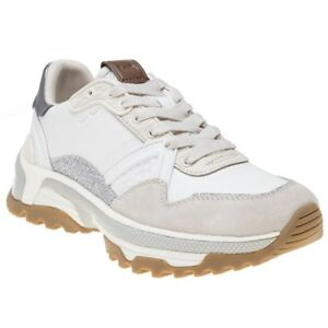 Coach Silver Trainers C143 New Leather Lace White Chunky Up Womens Metallic Tw1q5WxAR