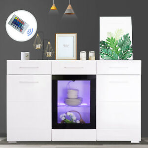 60 High Gloss White LED Storage Cabinet Sideboard Buffet Cupboard