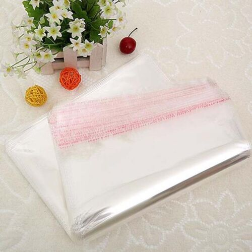 100pcs Clear Transparent Plastic OPP Self Adhesive Seal Bag Resealable Poly Bags