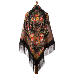 Pawlow Posad//Pavlovo Posad russischer Schal-Tuch Tradition146x146 Wolle 1727-18