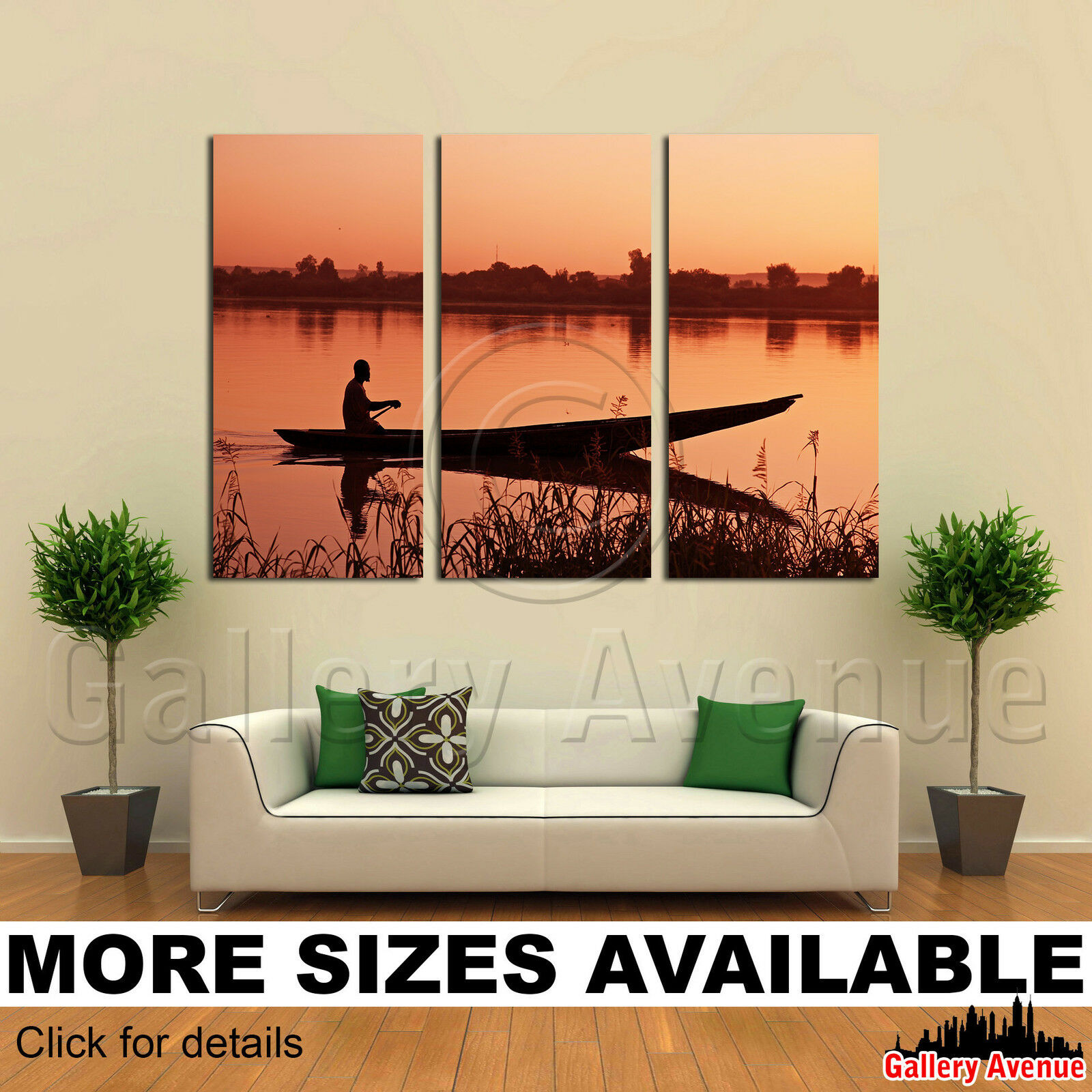 3 Panel Canvas Picture Print - Canoe at sunset_1 3.2