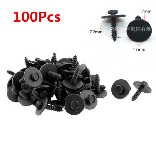 100Pcs Metal Sheet Screw Flange 17mm Washer Black Finish 7mm Hex 4.2-1.41x22mm