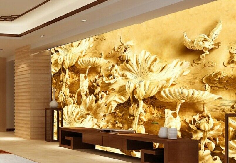 3D Holzschnitzerei Lotus 55 Tapete Tapeten Mauer Foto Familie Tapete Wandgemälde