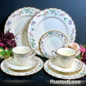 Noritake-Brookhollow-Bone-China-Floral-Gold-Rimmed-5-pc-place-setting-x-2