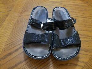 Alegria-Womens-Black-Metallic-Leather-Strap-Sandals-KAR-237-Size-EUR-39-US-9