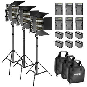 Neewer-LED-660-Video-Light-and-Light-Stand-3-kit-and-6-Replacement-Battery
