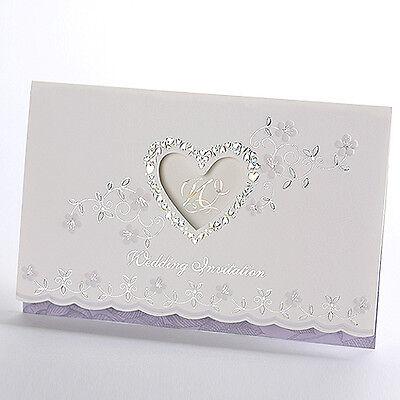 Personalized Purple Wedding Invitations Silver Foil Heart Elegant Cards Neo050