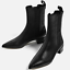 Women-Leather-Ankle-Boots-Low-Heel-Pointed-Toe-Black-Pull-On-Line-Warm-Shoes-RR6 thumbnail 1