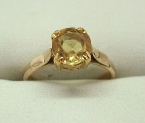 9-Carat-Rose-Golf-And-Citrine-Solitaire-Ring-Size-L-1-2