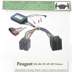 Peugeot Partner 2002 a Sony Auto Stereo interfaz de volante tallo Adaptador
