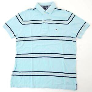 Tommy-Hilfiger-Coupe-Poloshirt-Polohemd-Herren-Gr-S-blau-gestreift-Pique-S1073