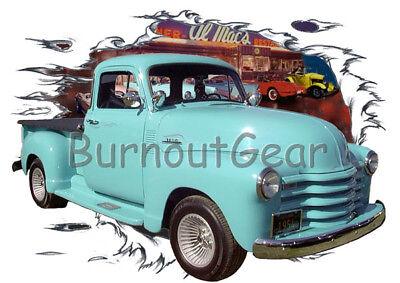1954 Blue Chevy Bel Air Hard Top Custom HotRod Diner T-Shirt 54 Muscle Car Tee/'s