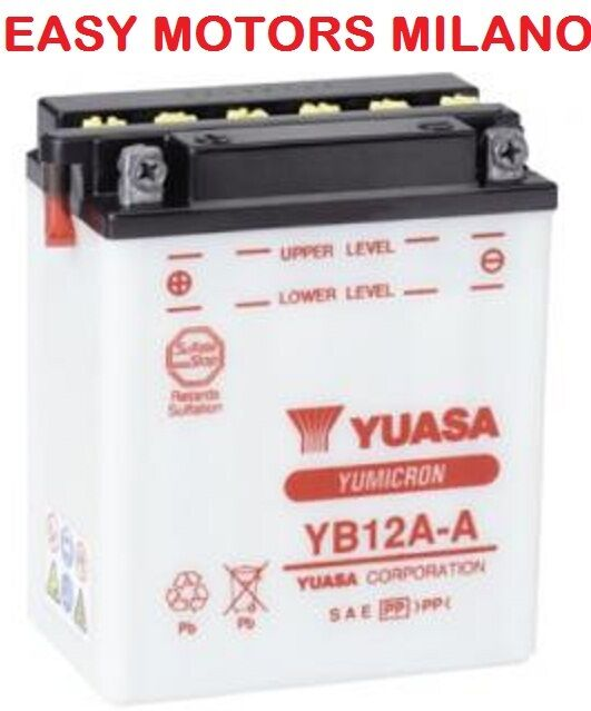 BATTERIA YUASA YB12A-A Moto Guzzi 4 cilindri - 250-Yamaha SR SRX XS 250-FZR -400