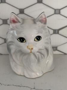 Vintage-Pottery-Ceramic-Cat-Planter-White-Ceramic-Cat-Vase-Painted