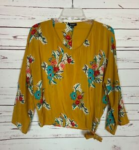 Tolani Women's Size S Small Mustard Floral 100% Silk Spring Top Blouse Shirt