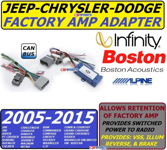PREMIUM SOUND INFINITY OEM AMP ADAPTER FOR 2005 &UP RAM JEEP CHRYSLER DODGE