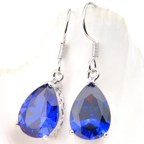 Goutte d/'eau Style Swiss Blue Fire Topaz Gemstone Silver Dangle Crochet Boucles D/'oreilles