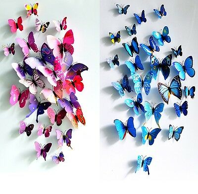 12 pcs / pack 3D wall stickers butterfly fridge magnet wedding decoration home