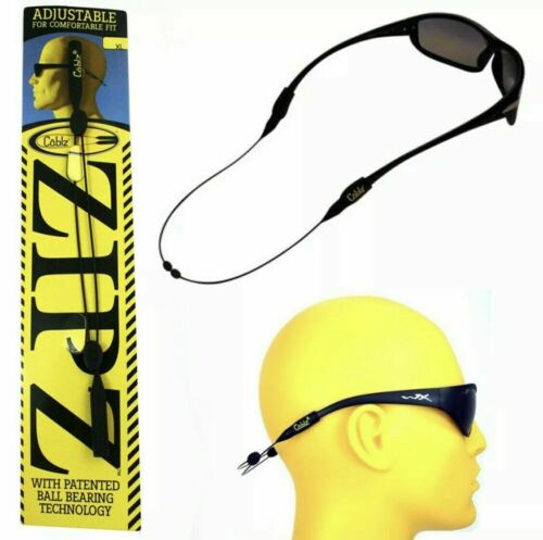 "Cablz Zipz Black 14/"" Rubber Adjustable Sunglasses Eyeglass Safety Glasses Holder"