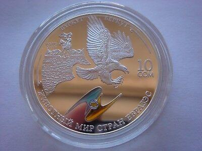 Kyrgyzstan 10 som GOLDEN EAGLE 2009 Proof silver fauna bird animal