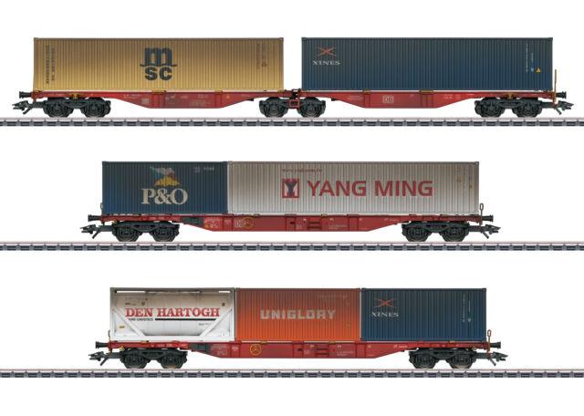 MÄRKLIN 47810: Container-Tragwagen-Set, 3 Wagen, gealtert, Ep.VI, NEU