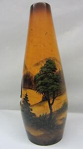 Handarbeit Holzvase '50/'60er Jahre Souvenir Freiburg Relief Vase Malerei Natur