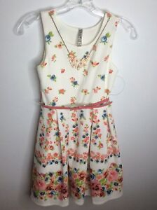 Beautees-Girls-White-Pink-Floral-Sleeveless-Church-Holiday-Party-Dress-Size-10
