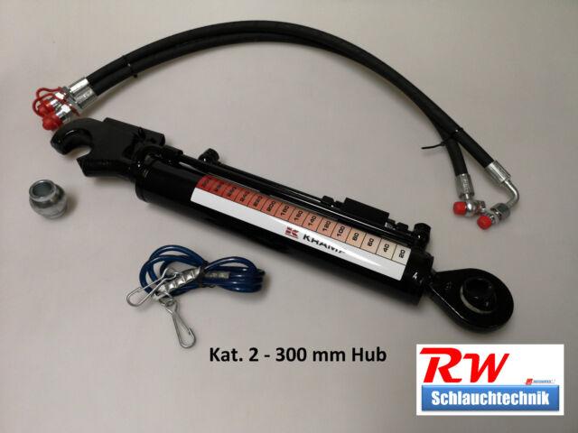 Hydraulischer Oberlenker Kat. 2, 300 mm Hub, gest. Rückschv., incl. Schläuche