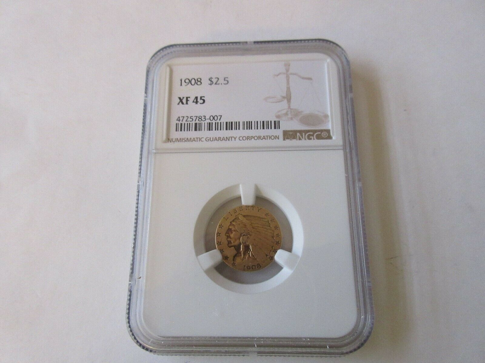 1908 $2.5 Gold XF 45 Indian Head Quarter Eagle NGC