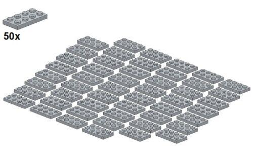 50Stk 3020-10 Used LEGO® Hellgra Plates 2x4 Lightbluishgray - Platte