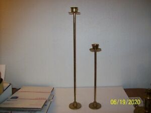 552-Vintage-Pair-of-Brass-Taper-Candle-Holders-18-5-034-amp-28-034-Tall