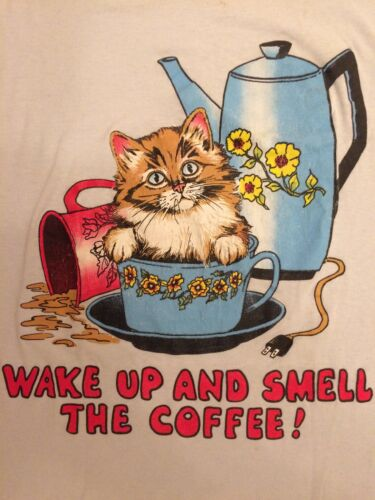 VTG Vintage 80s Wake Up Cat Coffee Long T Shirt Sw