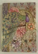 PURPLE PEACOCK FLORAL Note Book JOURNAL Diary Punch Studio JEWELED Brooch NEW