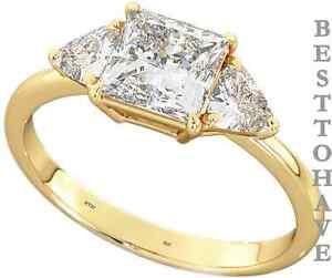 Plata-Esterlina-925-3-Piedras-Oro-Gp-Diamantes-Creados-de-bodas-anillo-de-compromiso