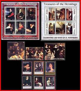 HERMITAGE-MUSEUM-RUSSIA-famous-PAINTINGS-set-3-S-s-2-M-s-MNH-6-ITEMS