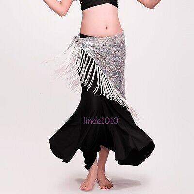 New Belly Dance Costume Peacock Hip Scarf Tribal  Fringe Tassel Belt 4 colours