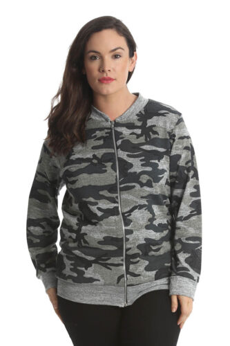 NUOVO Donna Giacca Donna Bomber Esercito Stampa Camouflage PLUS SIZE NOUVELLE