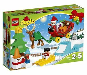 10837-SANTA-039-S-WINTER-HOLIDAY-Christmas-SLEIGH-sealed-LEGO-duplo-NEW-duplos